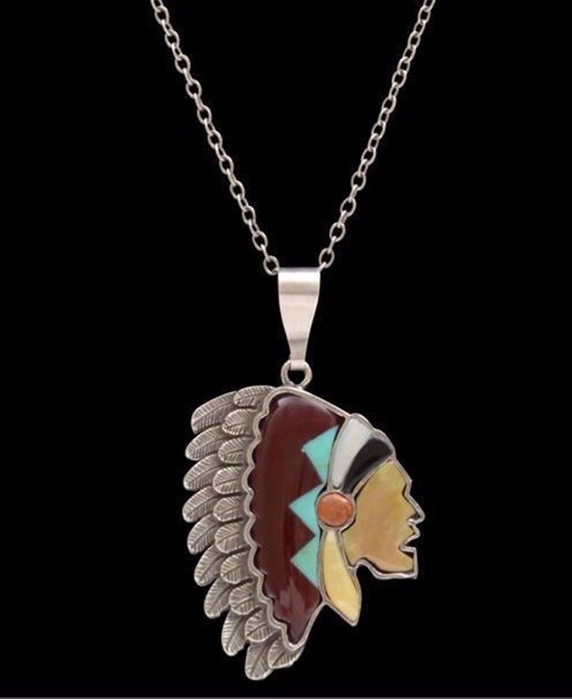 LOULABELLE Signature Silver finish INDIAN HEAD necklace Southwestern Gypsy  #LOULABELLE