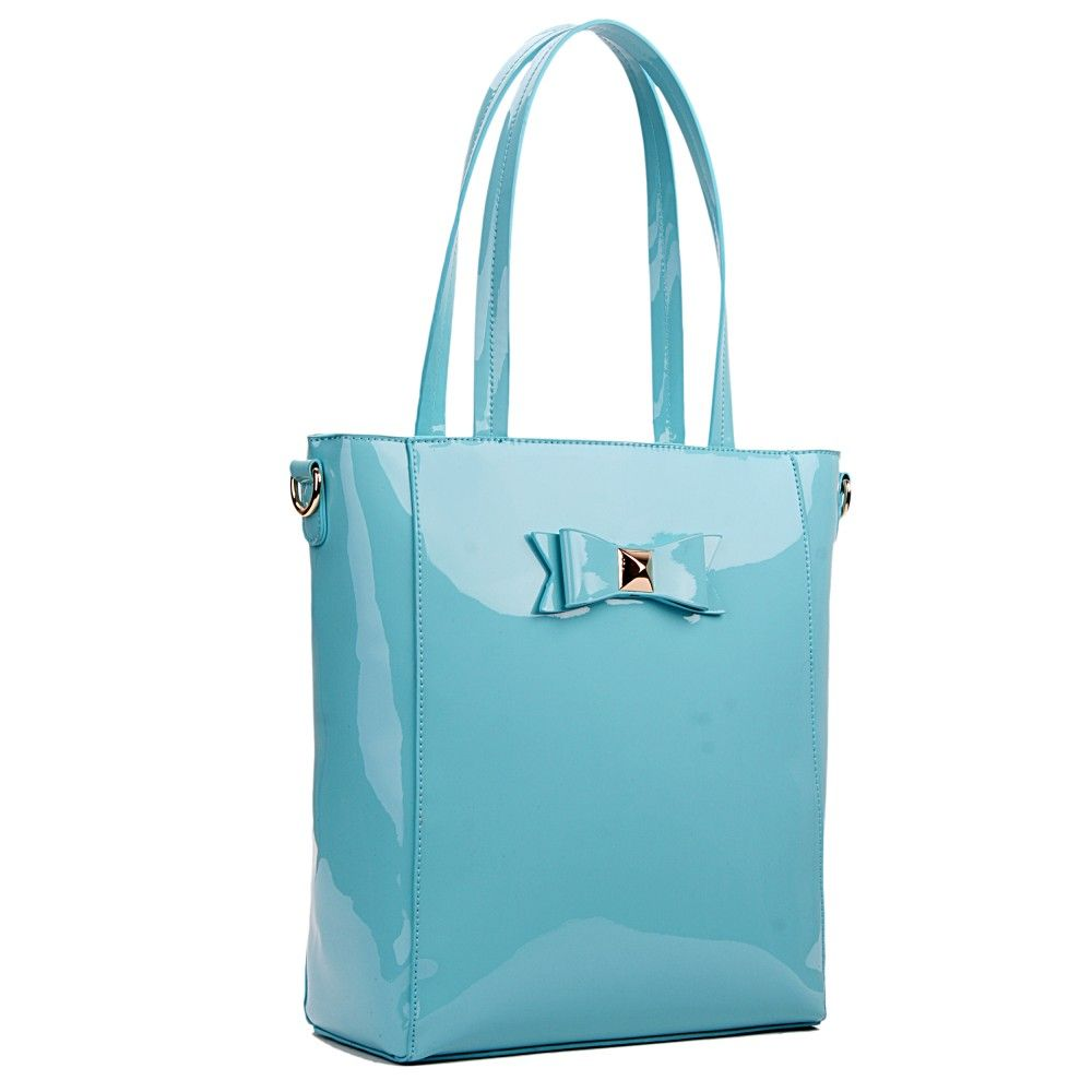 Patent Bow Detail #Classic #ToteBag in light blue - Buy online ...