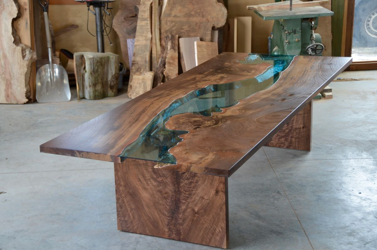 Claro walnut river table | Rivers, Walnut slab and Walnut table