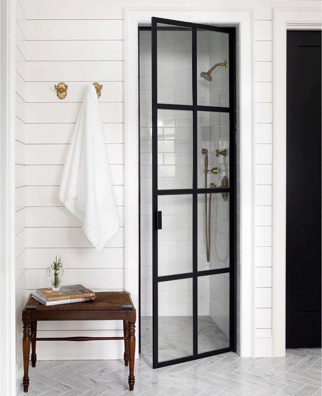 45 Best Creative Shower Doors Design Ideas For Bathroom Modern Farmhouse Bathroom Bathroom Design Framed Shower