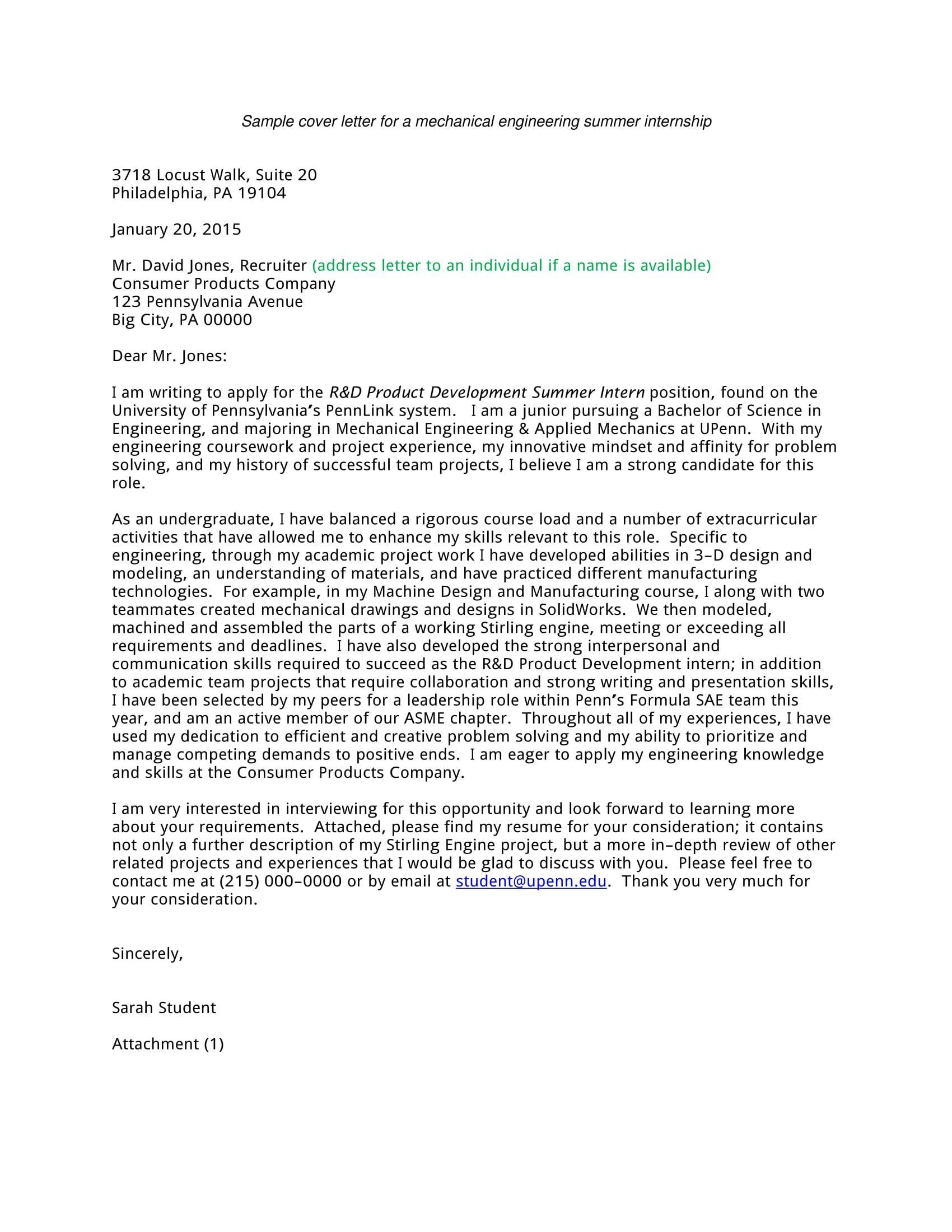 30 Sample Cover Letter For Internship Writing A Cover Letter