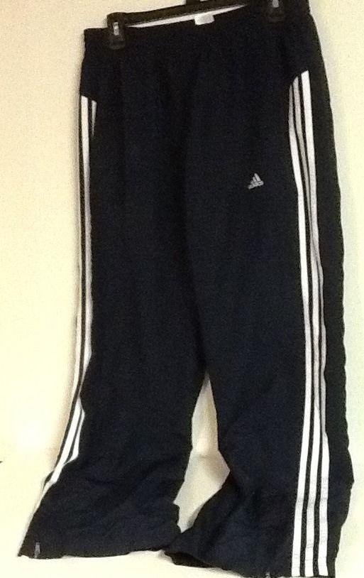 Adidas Climalite Clima365 Dark Blue Navy White Stripe Track Warmup Pants  Men's L