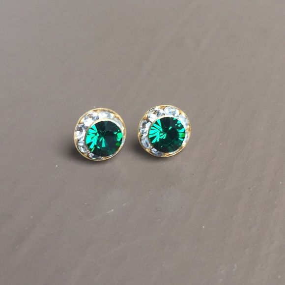 Crystal Fashion Earrings Emerald Green