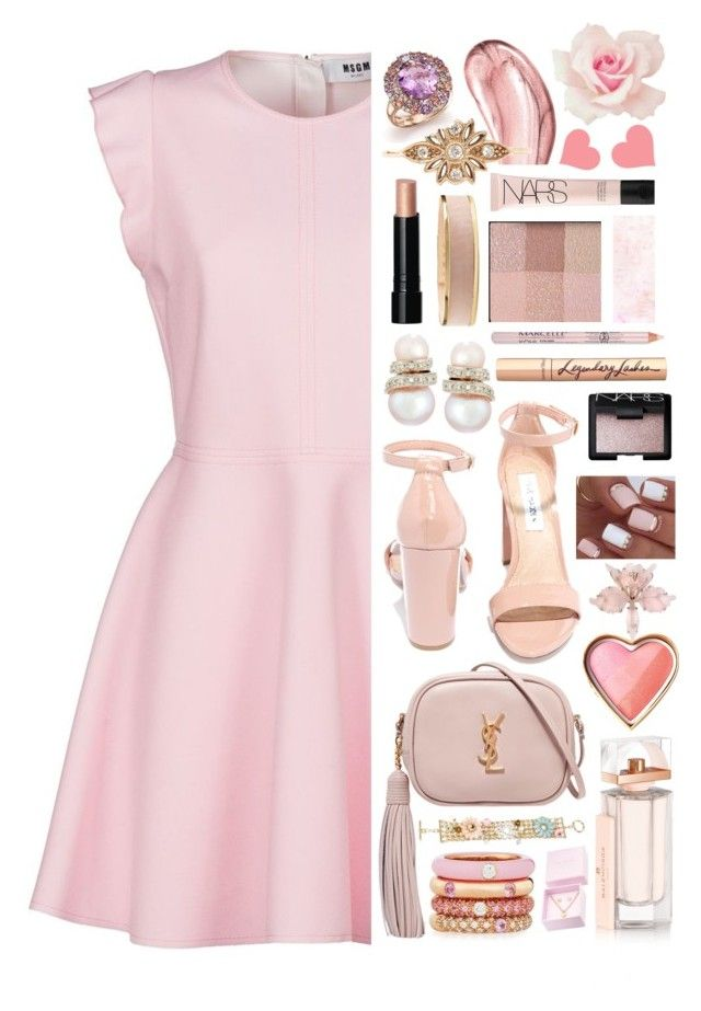 """""""Katrina"""" by sofemmeia ❤ liked on Polyvore featuring MSGM, Yves Saint Laurent, Mixit, Adolfo Courrier, Steve Madden, Belpearl, Chantecaille, Ted Baker, Bobbi Brown Cosmetics and Balmain"""