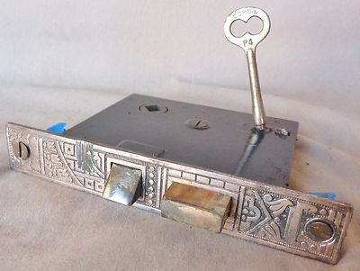 "Mortise Lock Latch Eastlake 5 1 2"" Face 2 3 8"" Centers w Key Cast Iron 1880s | eBay"