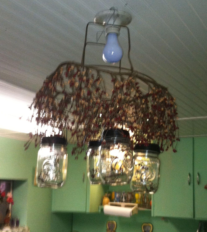 Primitive mason jar chandelier 1 made of 4 pint jars with solar primitive mason jar chandelier 1 made of 4 pint jars with solar light lids arubaitofo Choice Image