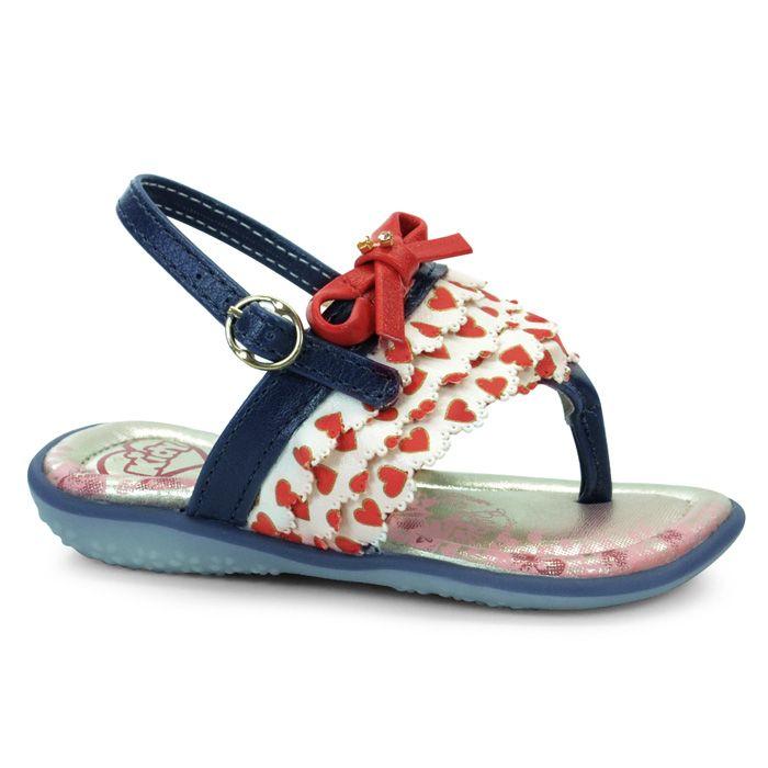 Sandalia Infantil Menina Kidy Baby - 0020410 - Marinho/Branco/Vermelho