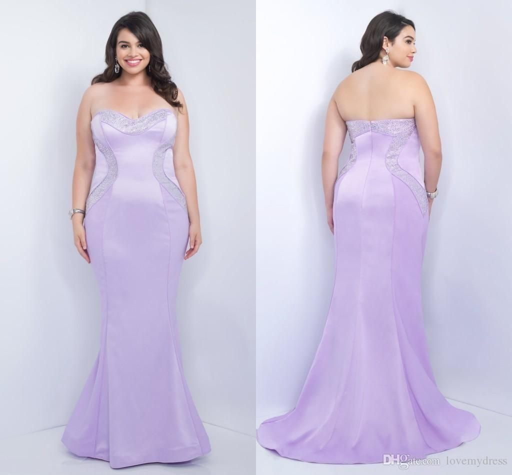Plus Size Evening Dress Gowns Formal Light Purple Mermaid Style