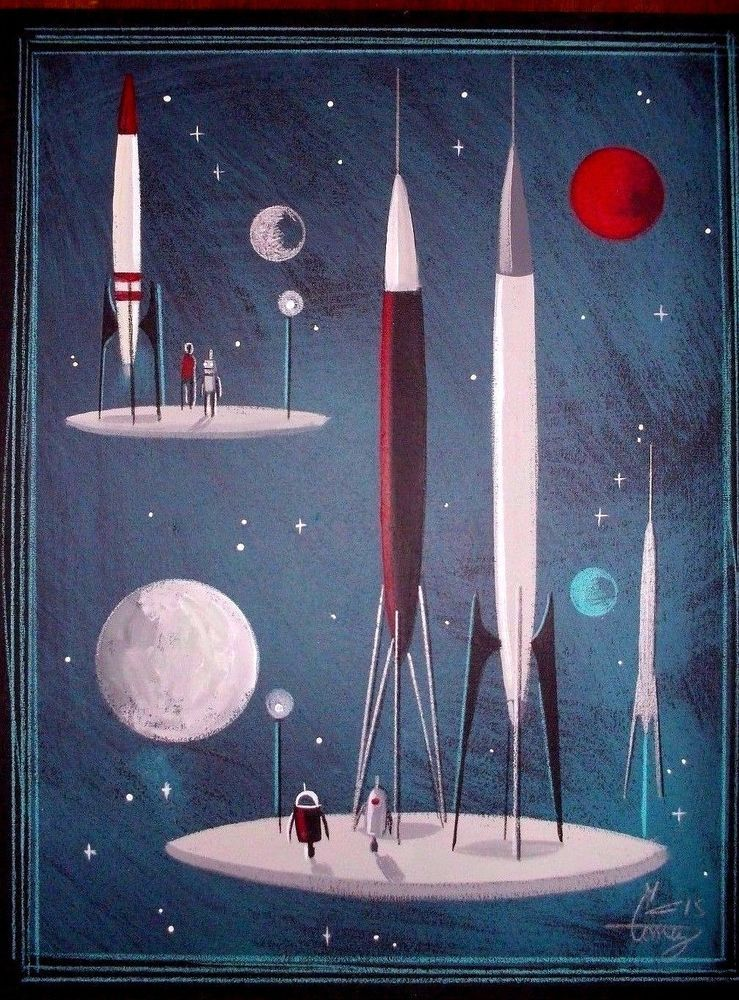 El gato gomez painting retro vintage 1950s sci fi outer for Retro outer space