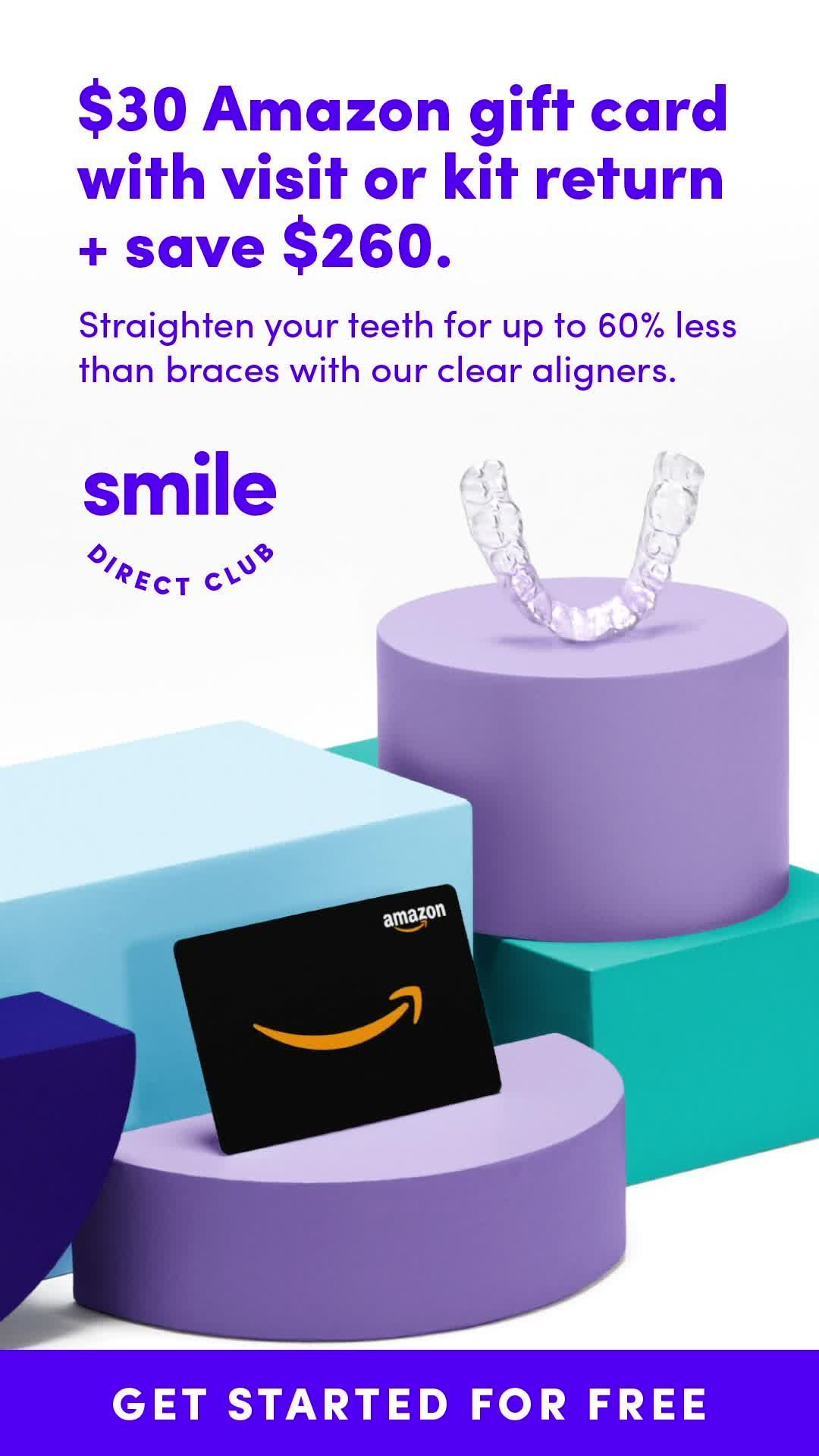 Get 260 off your new smile, plus a 30 Amazon gift card