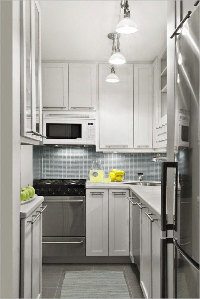 Cool Modern Tiny Kitchen Design In Metallic Mixed White Interior