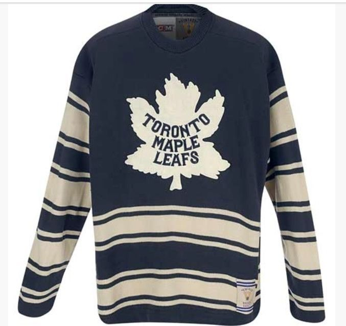 Ccm Vtg Toronto Maple Leaf Away Heritage Sweater Jersey Mens Medium Blue Stripes Sports Attire Long Sleeve Tshirt Men Mens Outfits