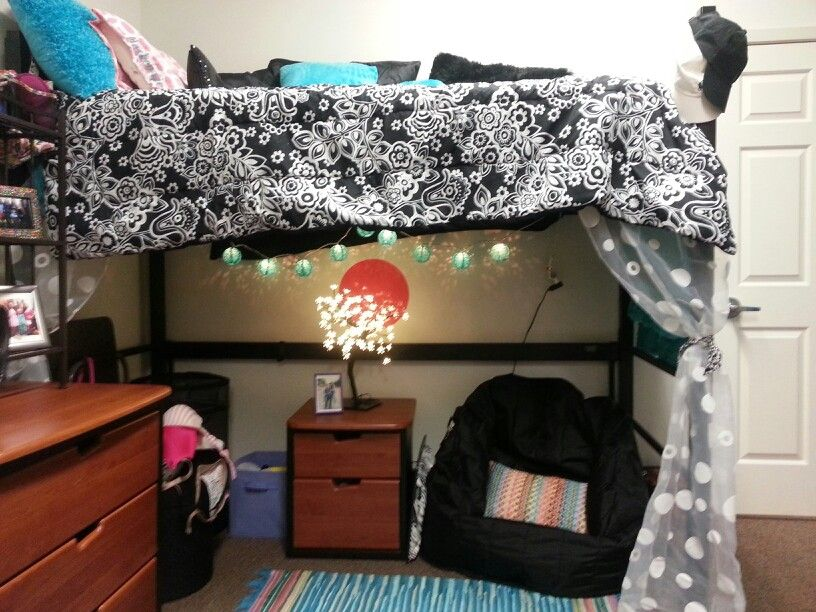 Dorm Room Ideas With Sitting Area Under A Raised Bed Here We Go Dorm Bedding Bed Dorm