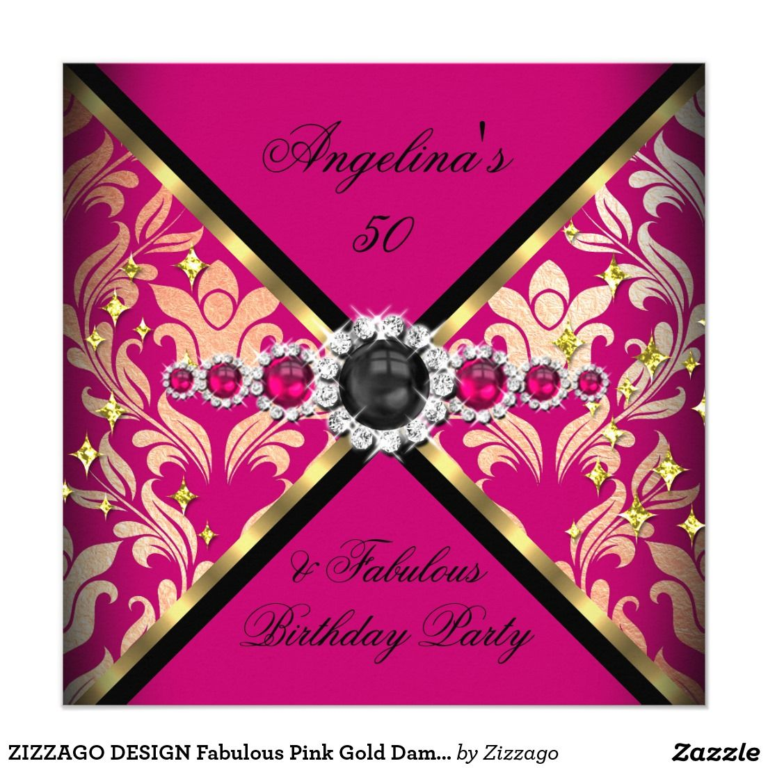 ZIZZAGO DESIGN Fabulous Pink Gold Damask Party 2 5.25x5.25 Square ...