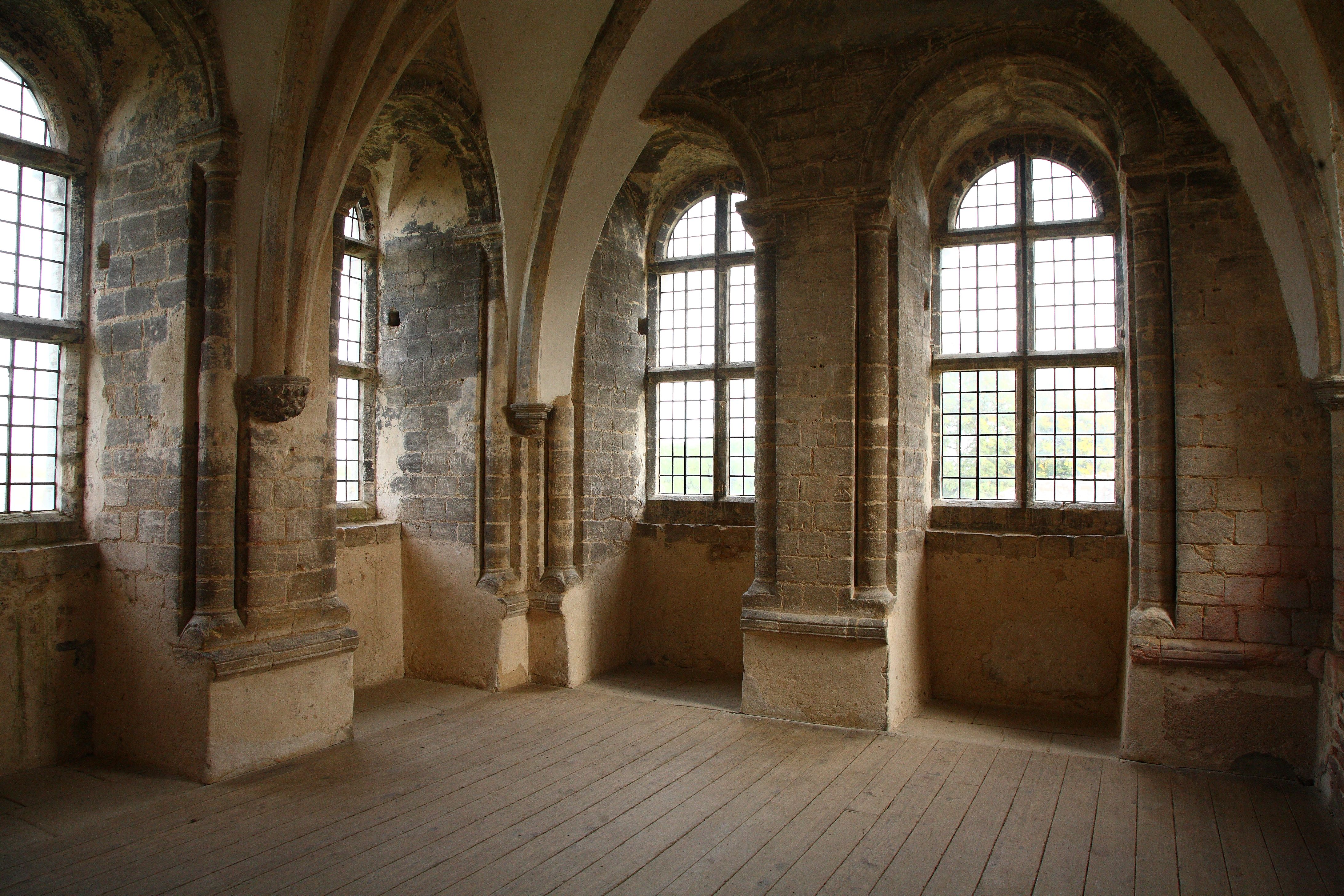 Nice Room In Gothic Castle With Great Arched Windows