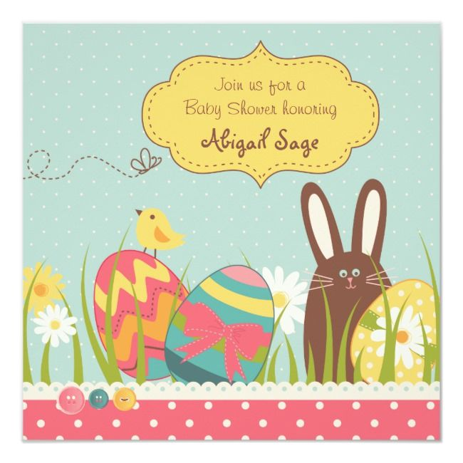 Bunny and Easter Eggs Baby Shower Invitation Girls | Zazzle.com