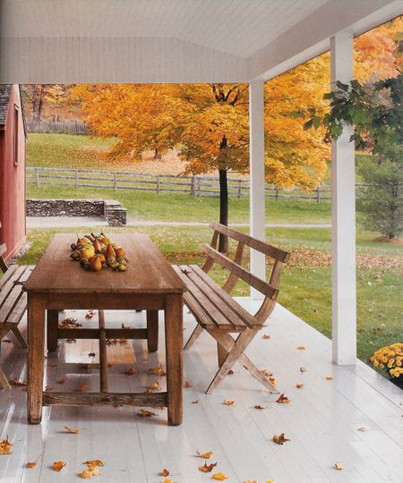 """fall setting....this country porch just says """"cozy"""" to me. I want to be there :)"""