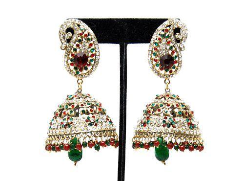 Imitation Designer Victorian Zhumka Bollywood Earring / AZERVE4009-GRG Arras Creations http://www.amazon.com/dp/B00KLS8QDE/ref=cm_sw_r_pi_dp_GqwAub1Y0V3DE
