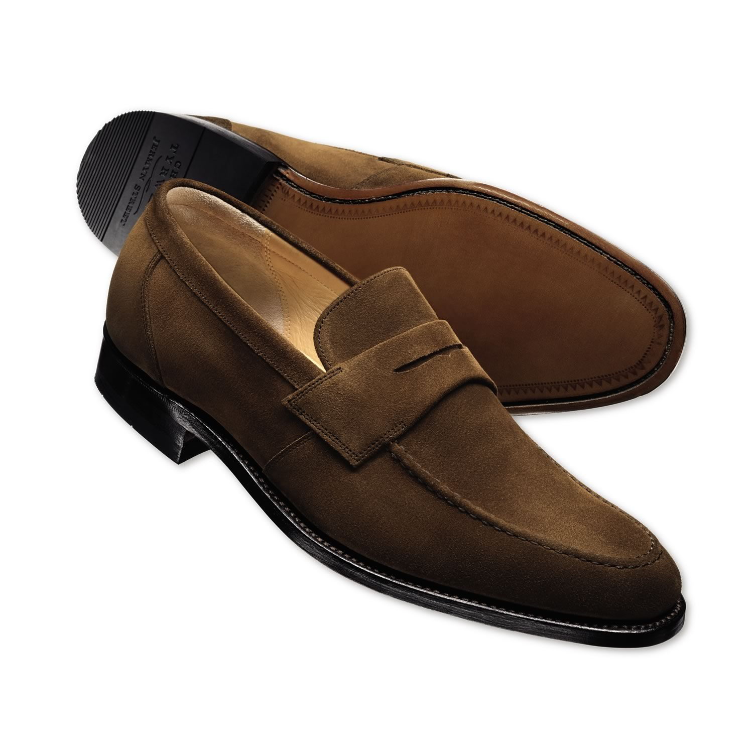 Brown suede loafers | Mens business shoes from Charles ...