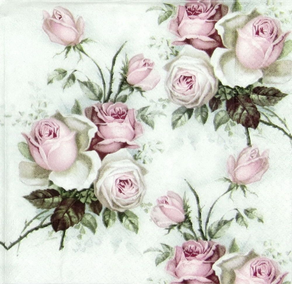4 x Single Luxury Paper Napkins for Decoupage and Craft Vintage Rose Bouquet #papernapkins