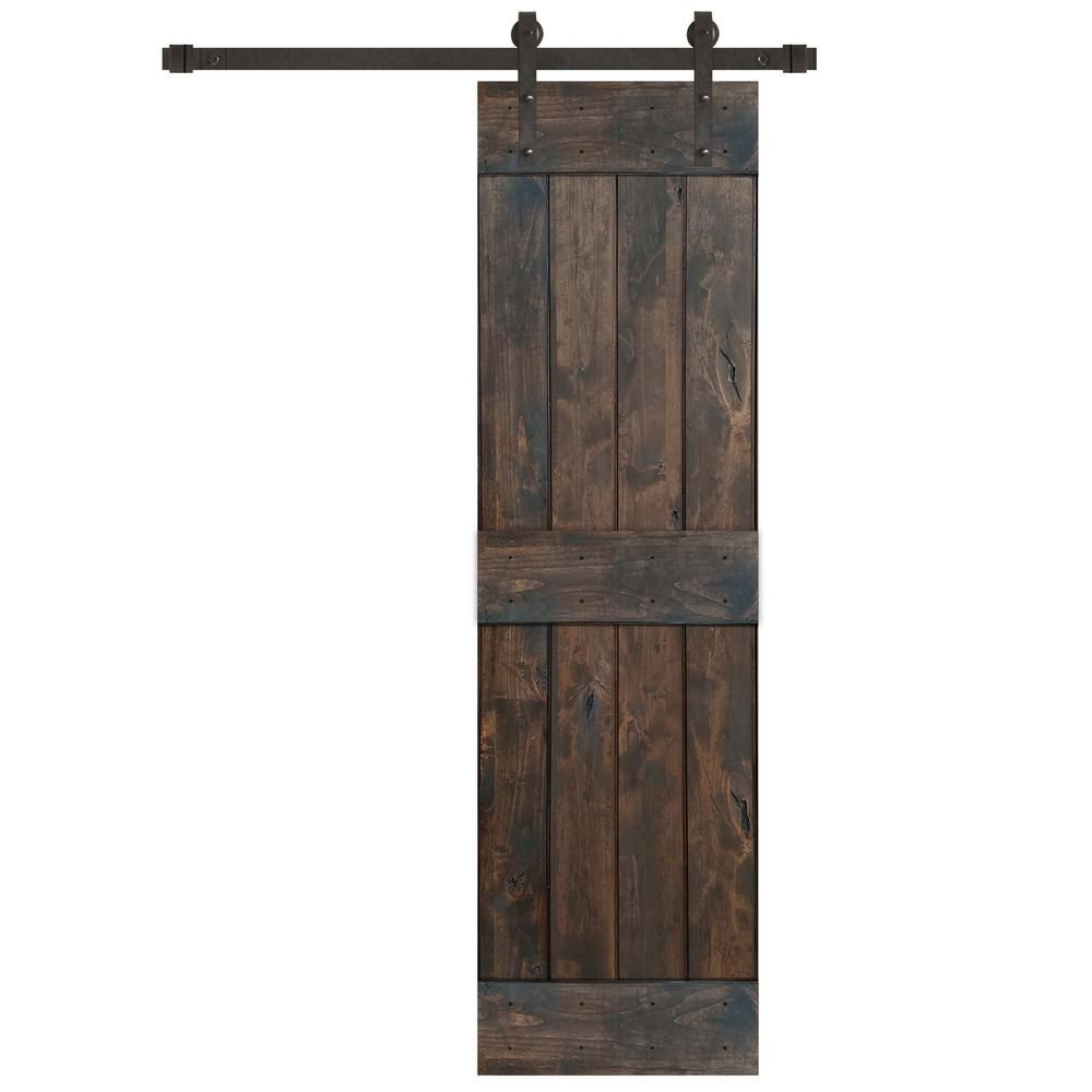 Pacific Entries 24 In X 84 In Rustic Espresso 2 Panel Knotty Alder Wood Sliding Barn Door With Oil Rubbed Bronze Hardware Kit Brown In 2020 Wood Barn Door Sliding Door Hardware Inside Barn Doors