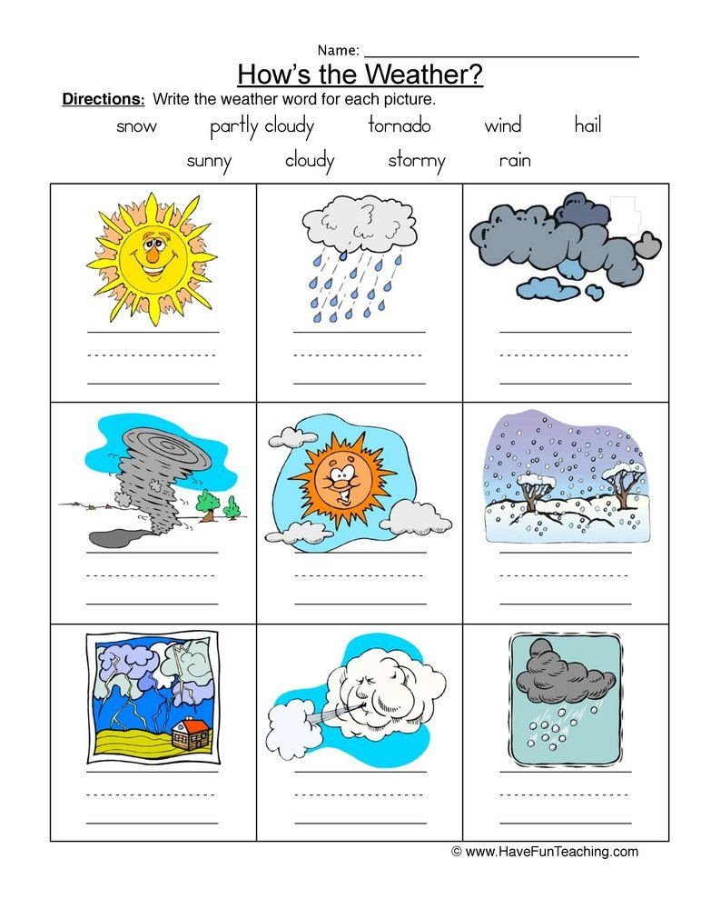 Weather Worksheets for First Graders Weather Names