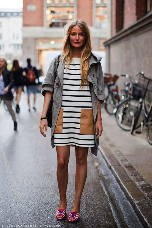 Striped dress with leather patch pockets