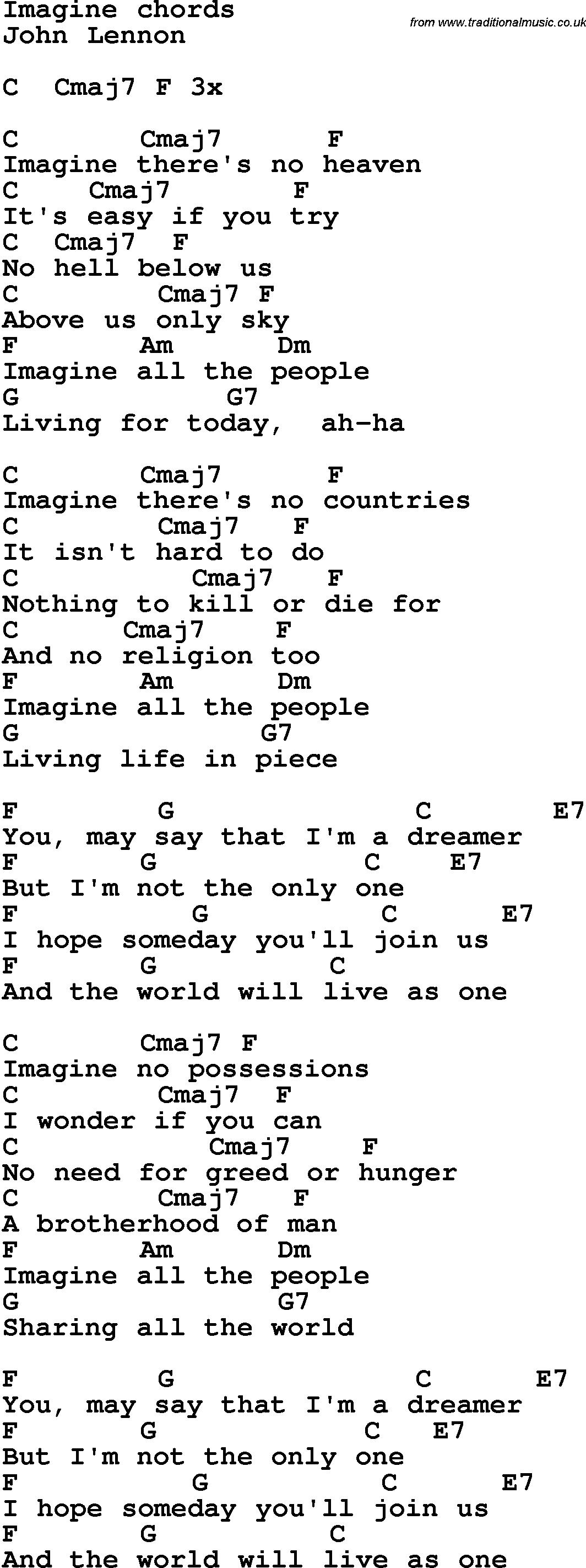 Imagine Lennon Chords Guitar Pinterest Guitar Guitar Chords