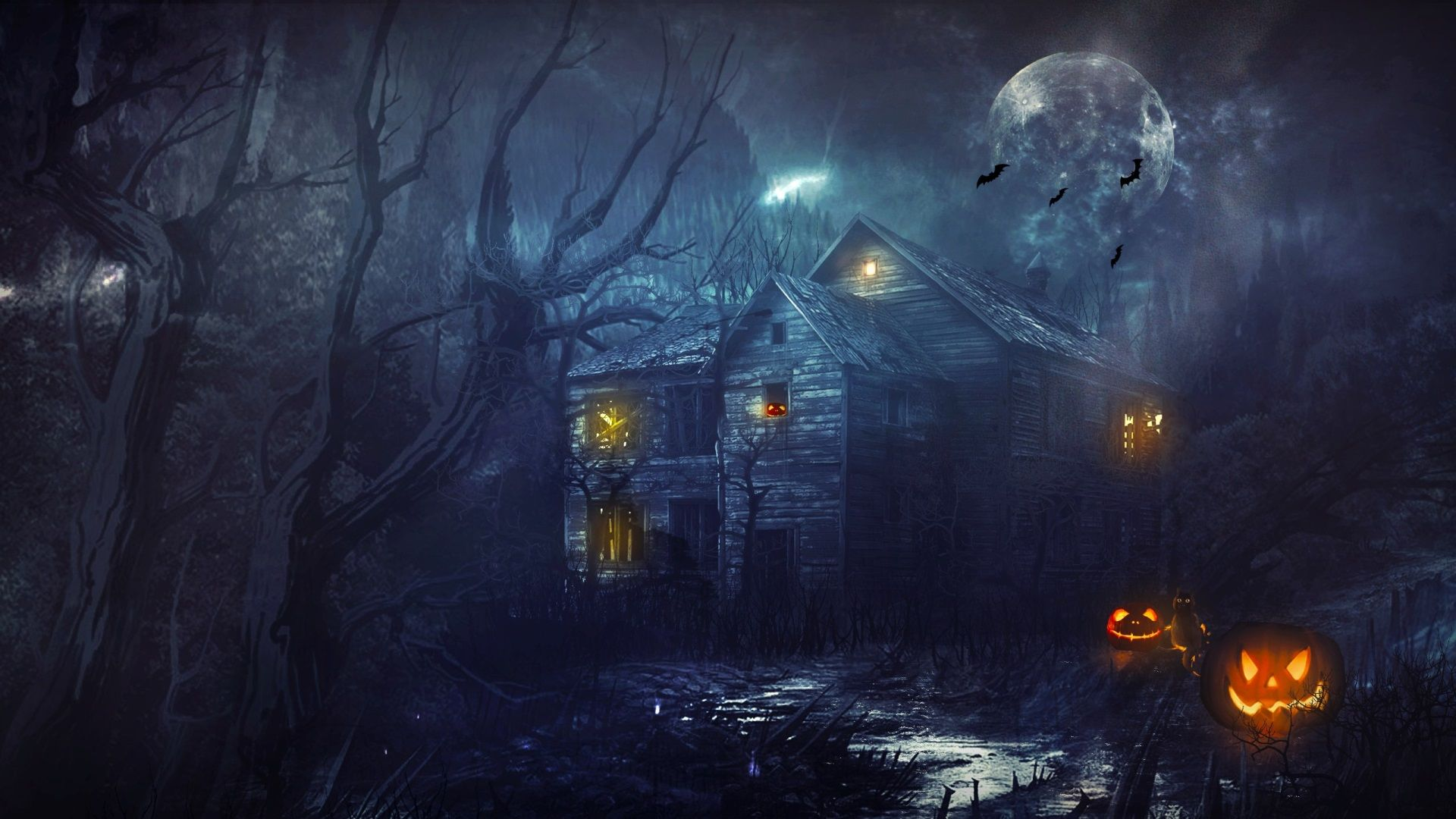 1920x1080 Halloween House Full Screen Wallpaper Hd Halloween Pictures Halloween Images Halloween Haunted Houses