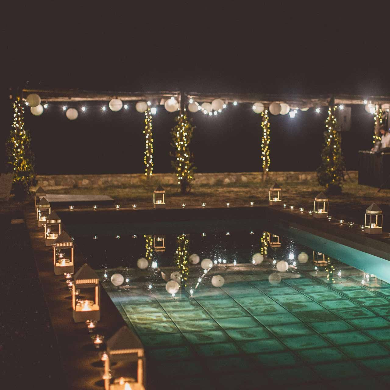 Swimming Pool Wedding Decorations Lanterns Candles Tea Lights