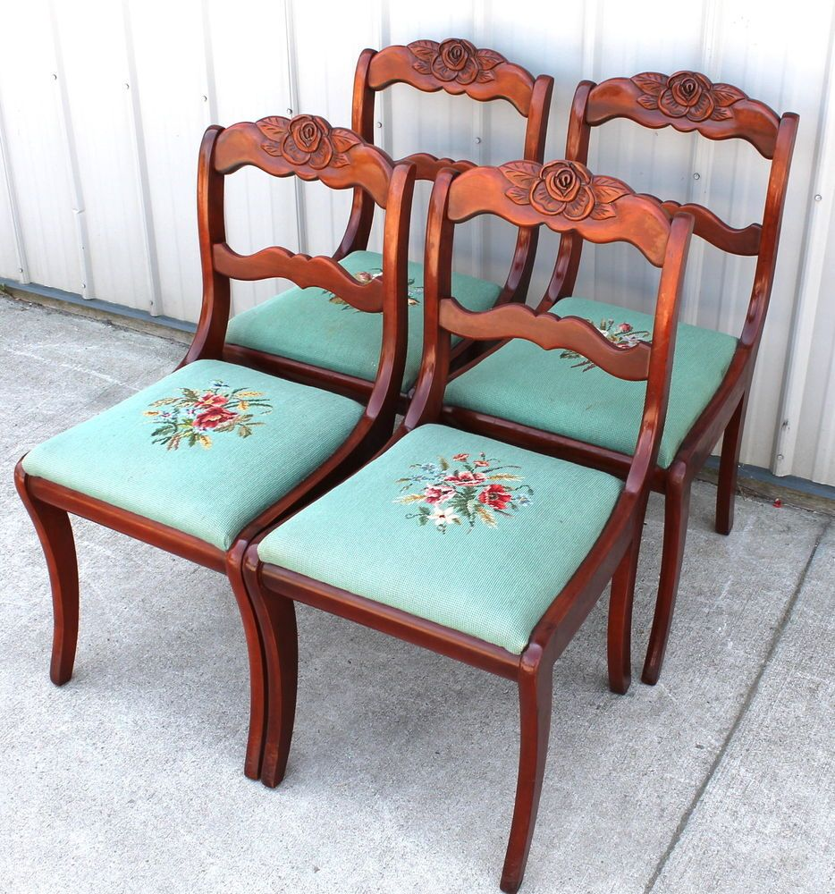 Duncan phyfe rose back chairs - 4 Solid Cherry Rose Back Willett Dining Room Chairs W Needle Point Seats Empire