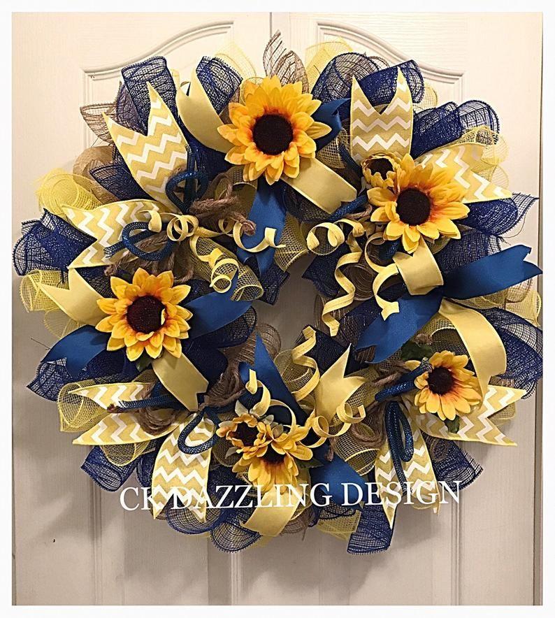 Photo of Sunflower blue, burlap and yellow decorative wreath / sunflower wreath / burlap sunflower wreath / spring wreath / summer wreath / autumn wreath