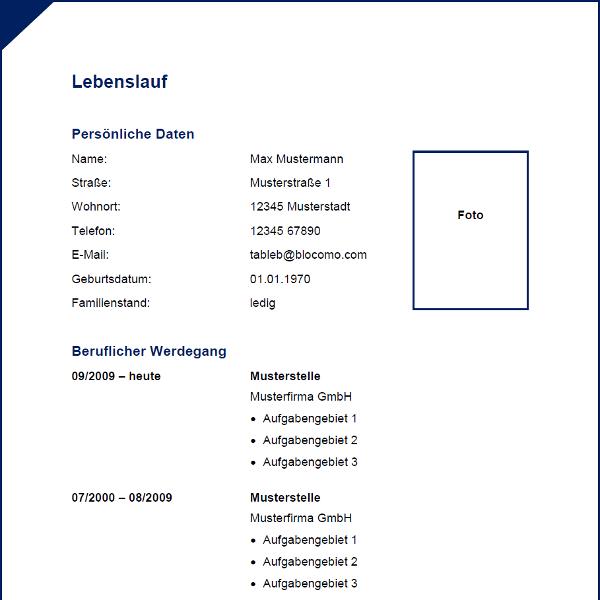 Modern blue CV with border - Moderne Lebenslauf-Vorlage mit blauem ...