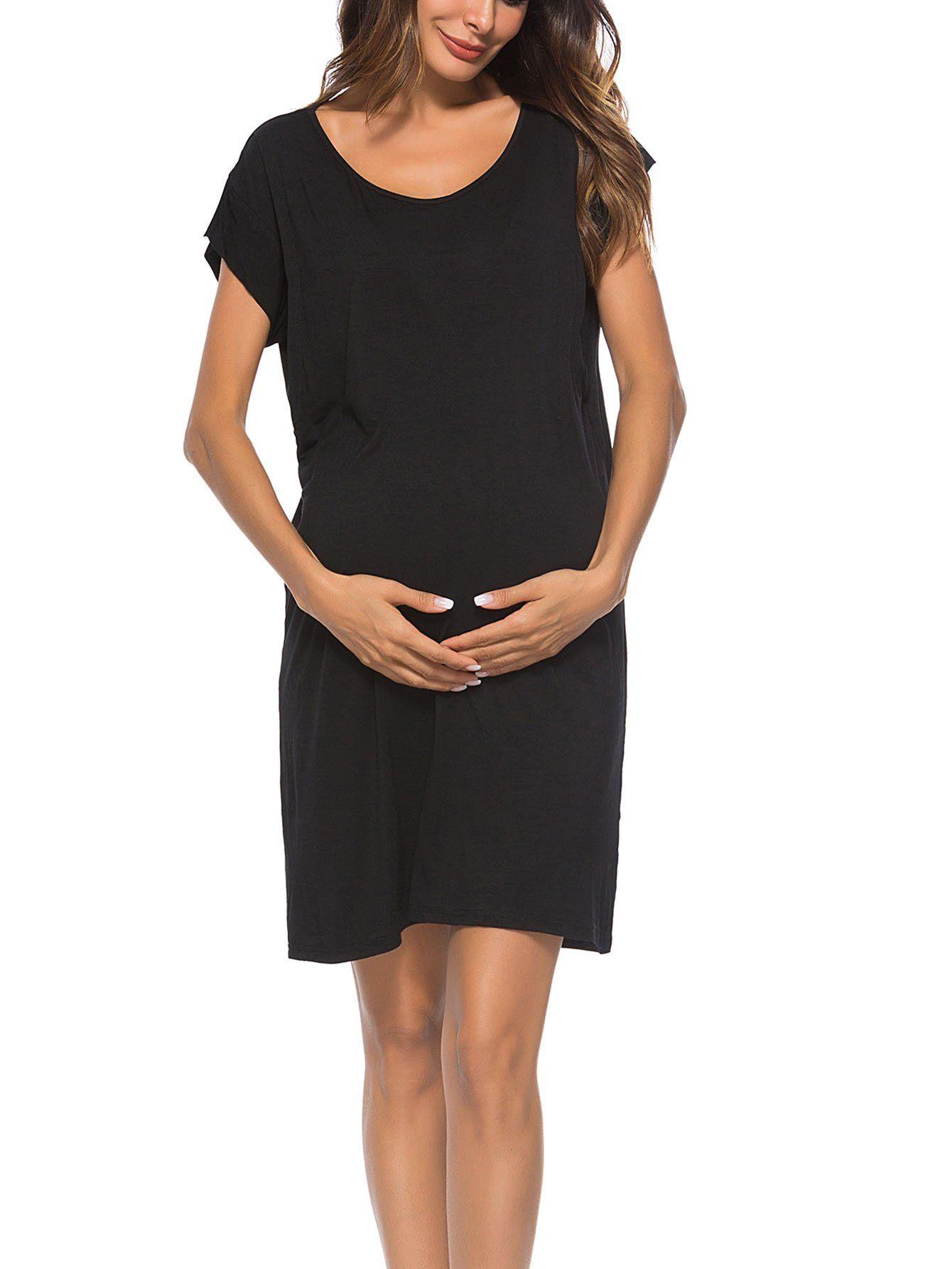 88d38e3fccc Maternity Dresses - WOAIVOOU Womens Summer Short Sleeve Loose Nursing Dress  Layered Breastfeeding Dress Midi Black S * Click photo to assess even more  ...