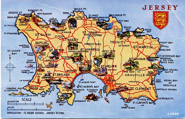 Nice map of Jersey, British Isles | Channel Islands | Jersey channel ...