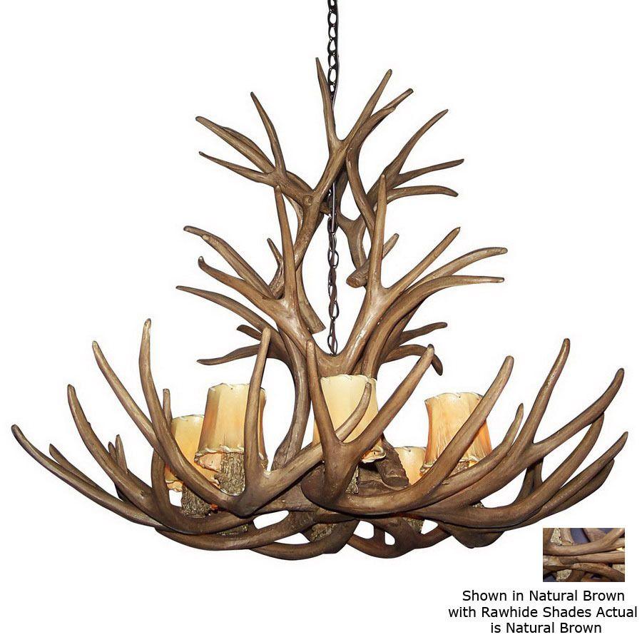 Shop Canadian Antler Design Reproduction Mule Deer 8-Light Natural Brown Chandelier at Lowes.com