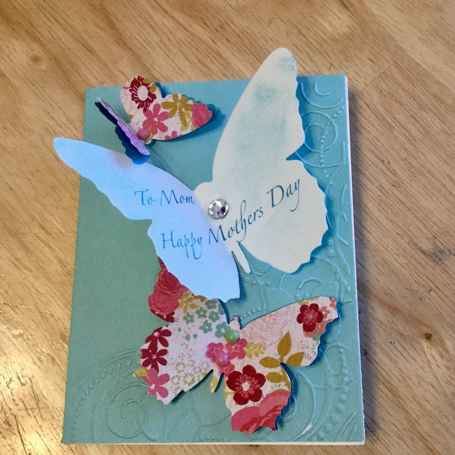 Colored card stock and envelopes - Greeting Card Happy Mothers Day Handmade Card Measures X And Comes With One Mailing Envelope Card Is Made Using White Floral And Sea Foam Color Card