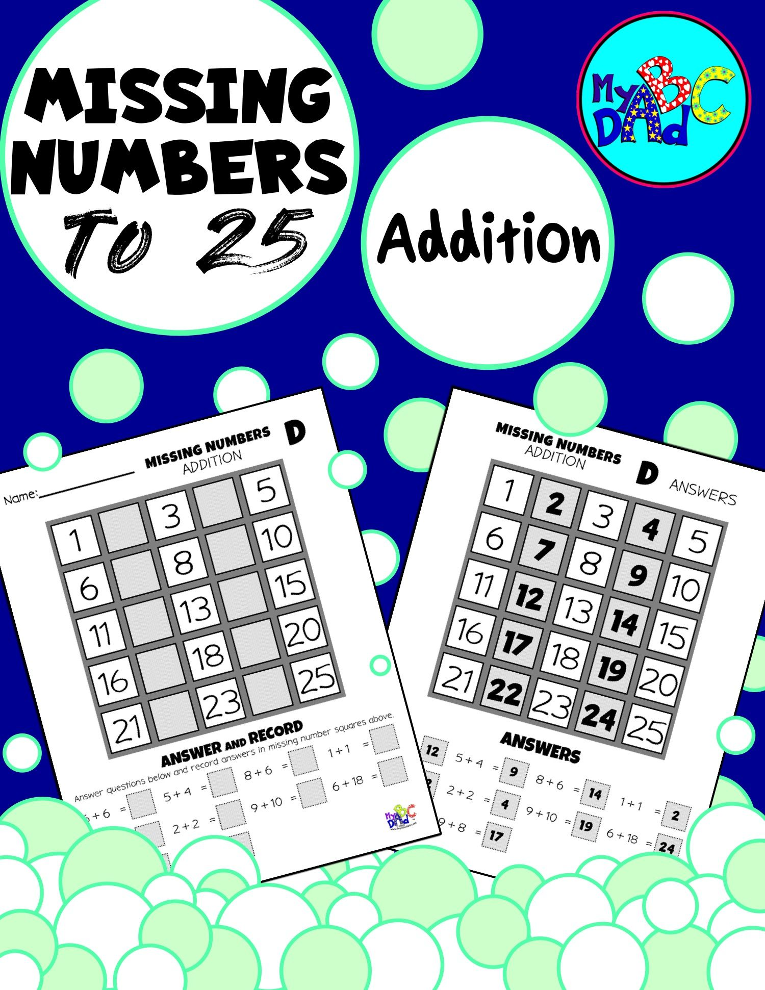 Missing Numbers To 25 Addition Activities In