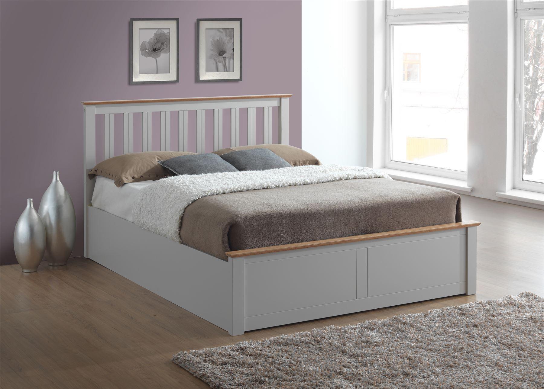 King Plattform Bett Stoff Doppelbett Mit Stauraum Volle Grosse