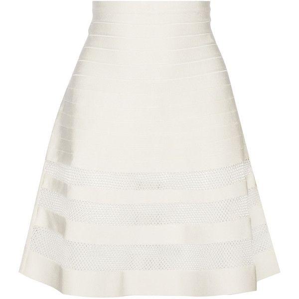 Hervé Léger Mesh-trimmed bandage skirt (€435) ❤ liked on Polyvore featuring skirts, white bandage skirt, elastic skirt, herve leger skirt, white skirt and bandage skirt