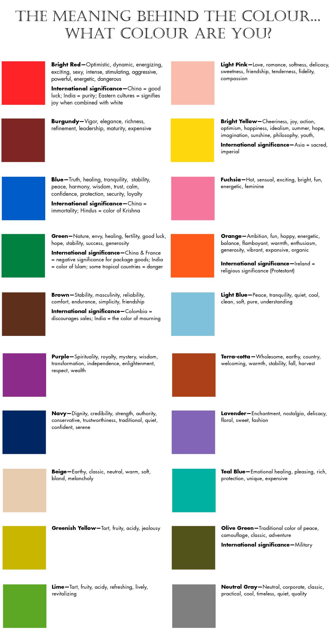 The Meaning Behind The Colour What Colour Are You Mood Color Meanings Color Psychology Color Meanings