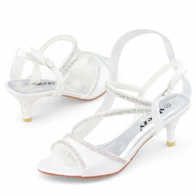 SHOEZY brand white kitten heels small thin low heel