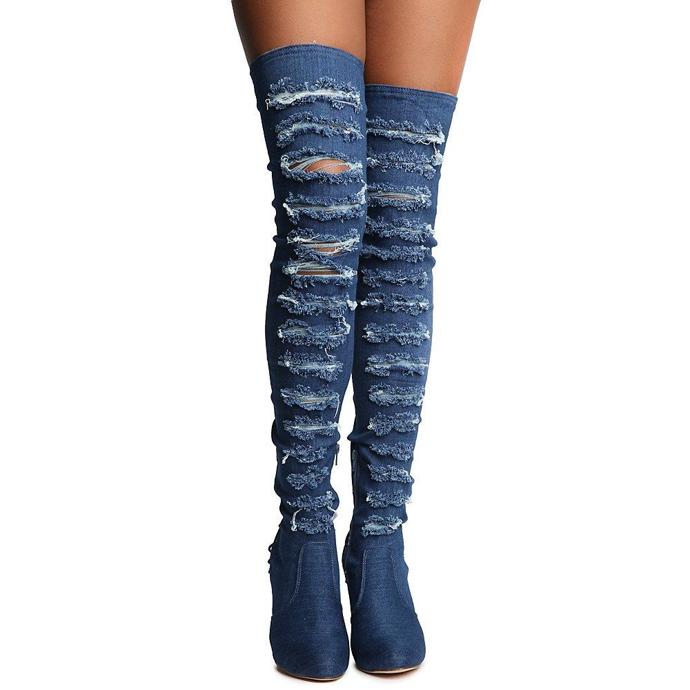 a047d95c8ee3 Shiekh Womens Addison1 Thigh High LaceUp Boot Boot Denim Size 8.5     See  this great product. (This is an affiliate link)  ThighHighBoots