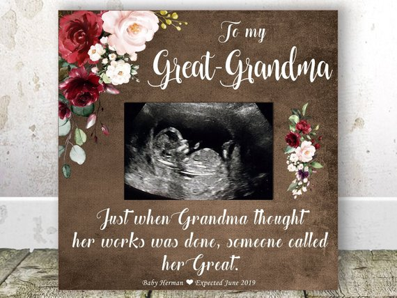 GREAT GRANDMA Pregnancy Announcement Sonogram Frame Great Grandma Gift Christmas