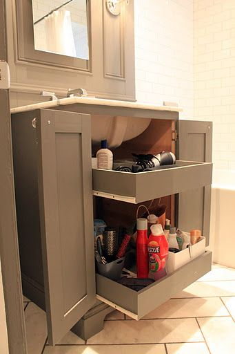Pull out drawers behind double doors roncesvalles - Small bathroom vanity with drawers ...