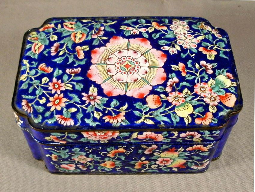 large vintage Chinese Peking valuables box, enamel on copper, having shaped corners, decorated overall in classic famille rose and fruit motifs. c1900