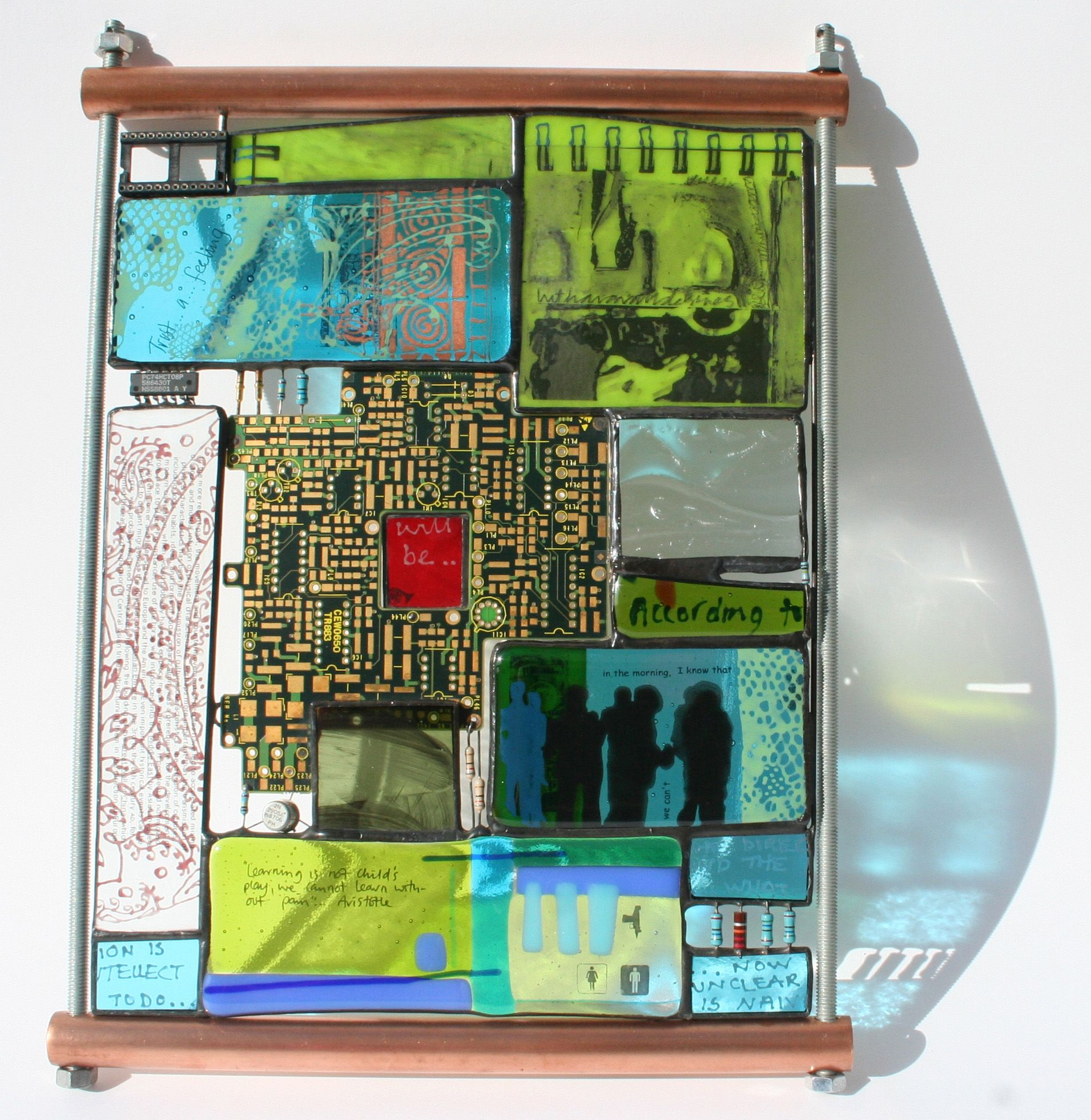 LEARN!' fused, painted and embossed glass soldered with
