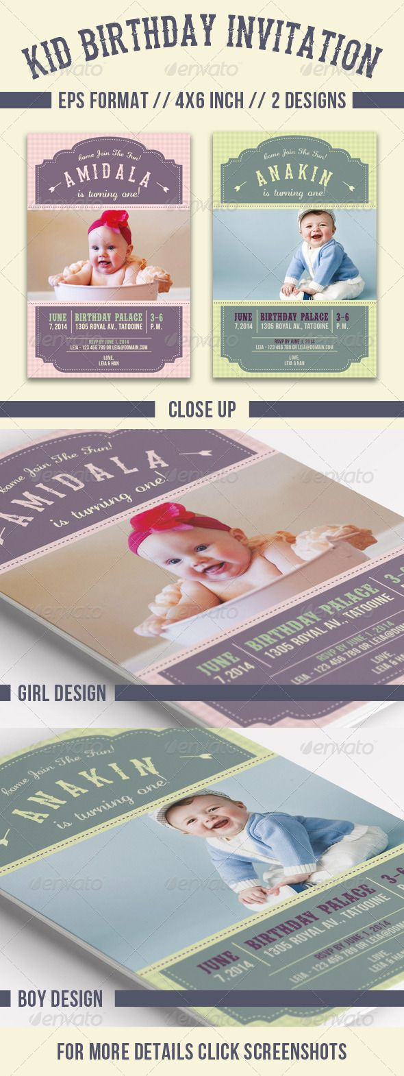 Kid Birthday Invitation Font Logo Fonts And Logos - Birthday invitation template graphicriver