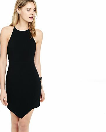 black ribbed asymmetrical sheath dress