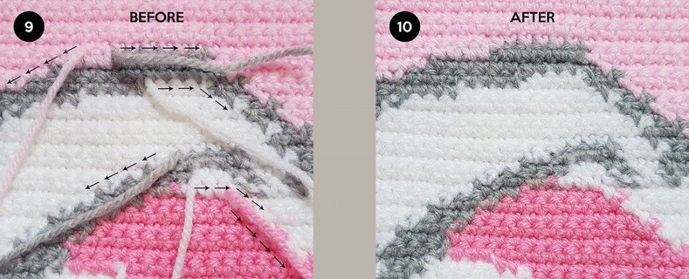 Crochet Intarsia Weaving in Yarn Ends to Achieve a